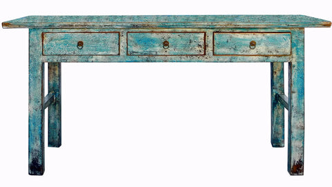 altar table - console table - distressed blue