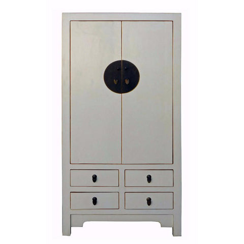 tall white Chinese armoire