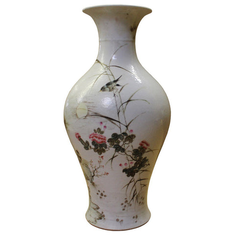 Chinese Oriental Ceramic Off White Flower Bird Vase