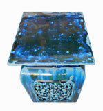 square clay stool - Garden Stool - Turquoise blue