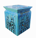 clay stool - Square stool - turquoise blue