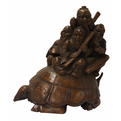 bamboo art - turtle old men - Chinese carving