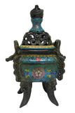 blue enamel - Cloisonne - incense burner