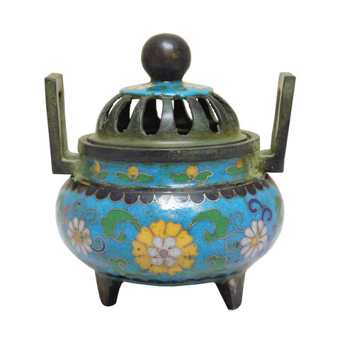 cloisonne - blue enamel - incense burner
