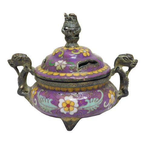 cloisonne -purple enamel - incense burner