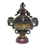 cloisonne - yellow enamal - incense burner