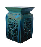 turquoise green - clay stool - square clay table