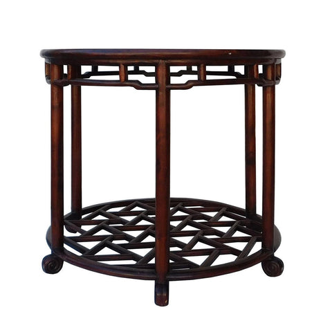 antique Chinese marble top rosewood round shape table