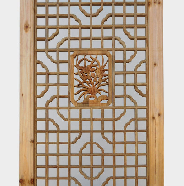 Accent Wall Headboard: Chinese Natural Wood Geometric Lily Accent Wall Panel