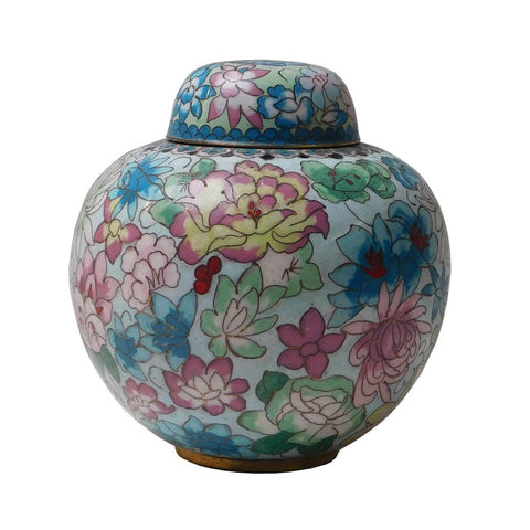 cloisonne - metal urn - Chinese round box