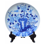 blue white flower painting decorative plate