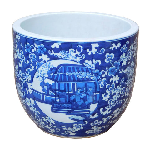 blue and white house painter flower pot - planter