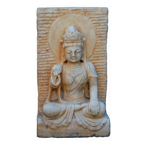 stone Kwan Yin statue plate - indoor outdoor Quin Yin statue