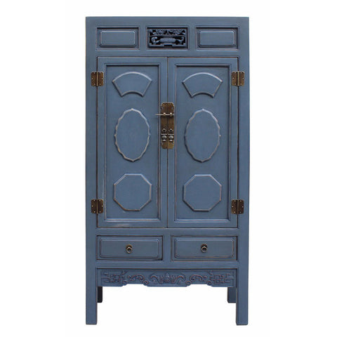vintage blue gray storage cabinet