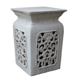 white stool - garden stool - clay table