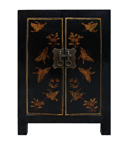 black end table - butterflies - nightstand