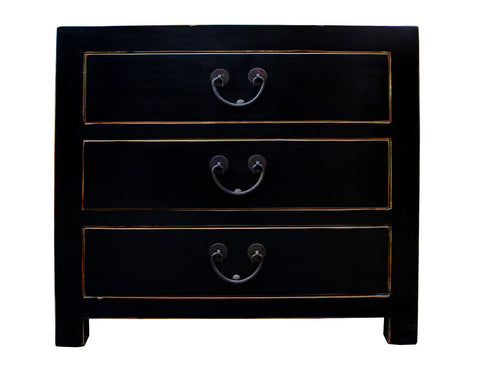 3 drawers - black end table - nightstand