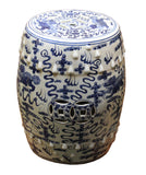 Chinese Blue & White Porcelain Foo Dogs Round Stool Table cs2280S