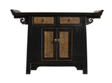 black console - Rattan table - altar table