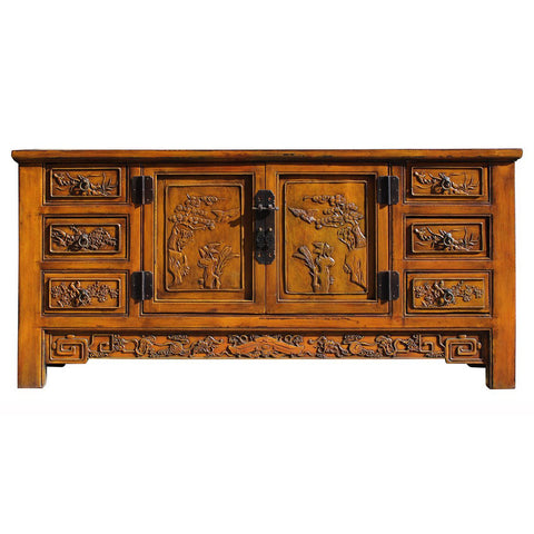 Oriental yellow carve fujian antique cabinet