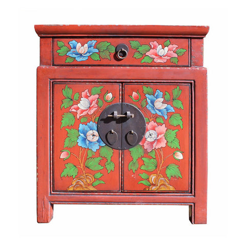 flower painting red cabinet