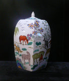 Asian hand painting horse container jar
