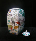 Handmade Chinese Porcelain Colorful Horses Painting Decor Container Jar cs229s