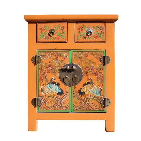 yellow color crane painting end table - bed side cabinet