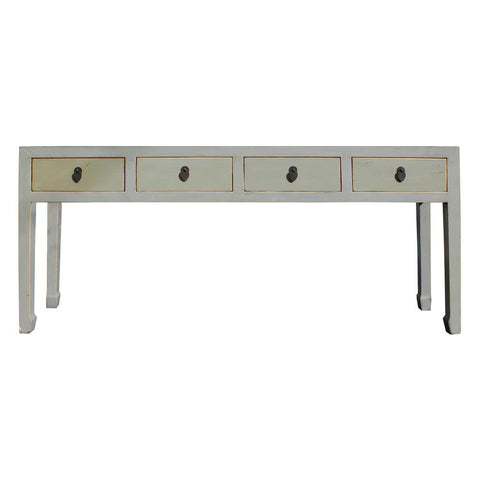 cream white long altar table with drawers