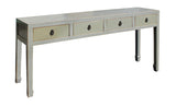 gray table - low console - drawer table