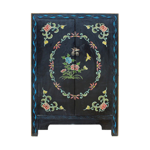 Asian flower painting cabinet