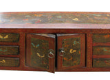 red slim table - foyer table - butterflies