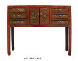 Chinese Distressed Red Color Butterflies Narrow Slim Foyer Side Table cs2331S