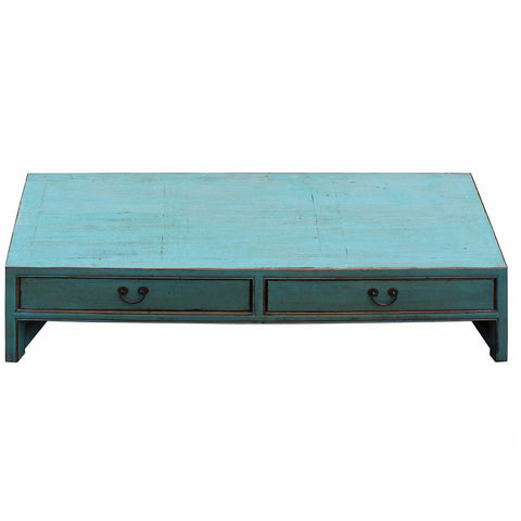 low blue rectangular coffee table