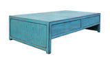 blue table - rectangular - coffee table