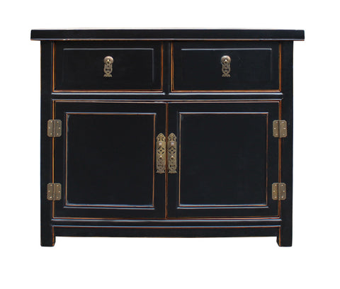 Black Lacquer Oriental Chinese Side Table Cabinet cs2337S