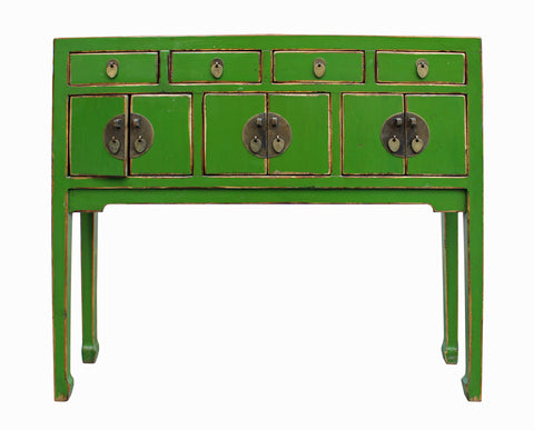 slim table - green table - foyer table