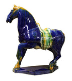 Chinese Blue Yellow Marching Horse Ceramic Figure cs2377S