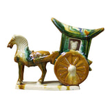 Chinese Tri-Color Ceramic Horse Cart Figure cs2386S