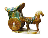 Ceramic figure - Clay horse cart - Chinese figure