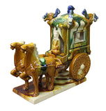 Tri-color glaze - Horse cart - Chinese clay figure