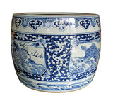 blue white - porcelain pot - planter