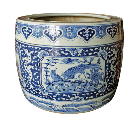 blue white - porcelain pot -planter