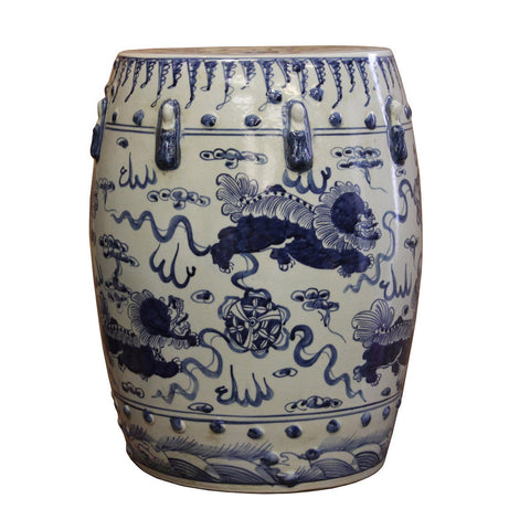 blue and white foo dog painting porcelain stool