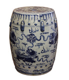 Chinese Blue & White Porcelain Foo Dogs Round Stool Table cs2406S