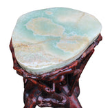 Crystal Jade Stone Top Bamboo Wood Stick Accent Stool Table cs2411S