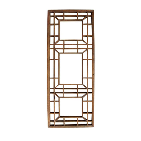 Vintage Restored Oriental Zen Geometric Wood Wall Panel cs2450S
