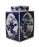 blue white jar - square jar - Porcelain box