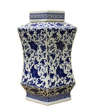 blue white jar - hexagon jar - Chinoiserie box