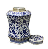Chinese Blue White Hexagon Porcelain Flowers Accent Jar cs2462S